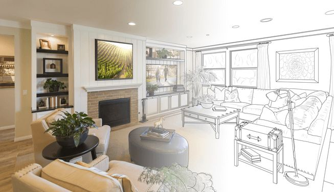 Interior view of home renovation project with drawing