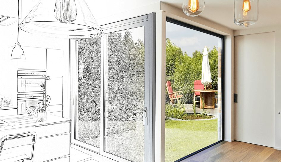 Diagram and photo composition of interior home renovation project